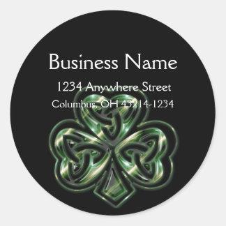 Celtic Shamrock Design 2 Round Address Labels Round Sticker