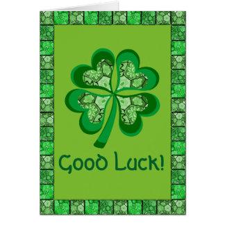Celtic Shamrock Folk Art Good Luck Card