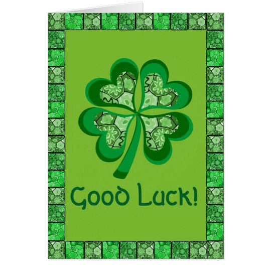 Celtic Shamrock Folk Art Good Luck Card