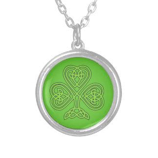 Celtic Shamrock Round Pendant Necklace