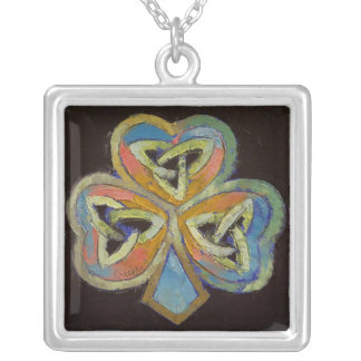 Celtic Shamrock Square Pendant Necklace