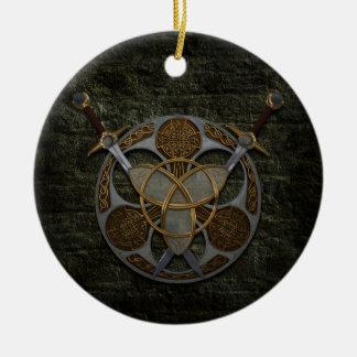 Celtic Shield And Swords Round Ceramic Decoration