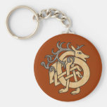 Celtic Stag Basic Round Button Key Ring