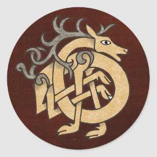 Celtic Stag Classic Round Sticker