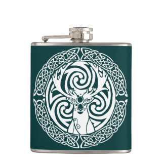 Celtic Stag in Snow Hip Flask
