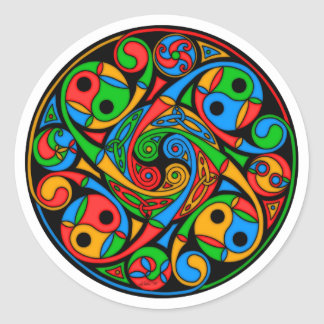 Celtic Stained Glass Spiral Round Sticker