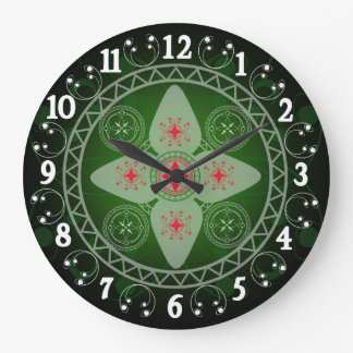 Celtic Styled Green Red And White Large Clock