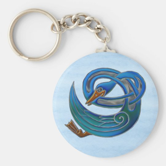Celtic Swan Basic Round Button Key Ring