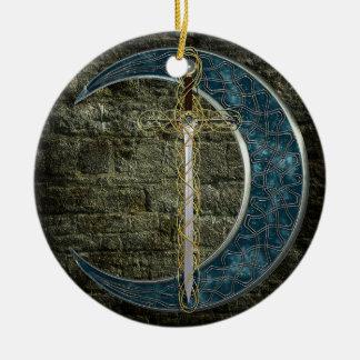 Celtic Sword and Moon Christmas Ornament