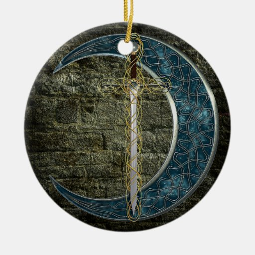 Celtic Sword and Moon Christmas Ornament