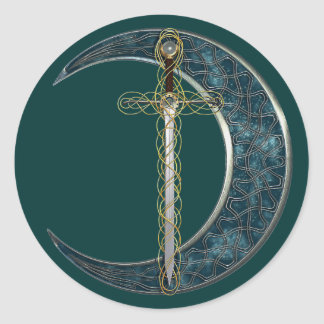 Celtic Sword and Moon Round Sticker