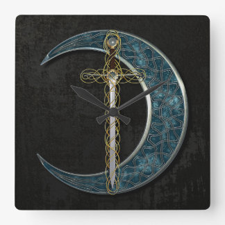 Celtic Sword and Moon Square Wall Clock