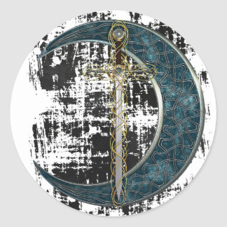 Celtic Sword and Moon with Grunge Round Stickers