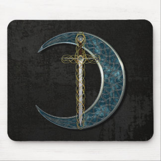 Celtic Sword and Moon with Grunge Wall Mouse Pad