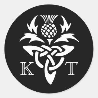 Celtic Thistle Initials - Black & White Classic Round Sticker