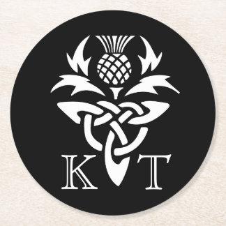 Celtic Thistle Initials - Black & White Round Paper Coaster