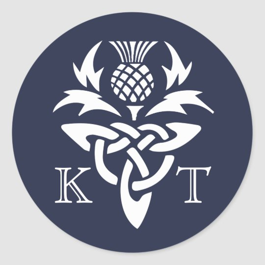 Celtic Thistle Initials - Navy Classic Round Sticker