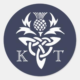 Celtic Thistle Initials - Navy Round Sticker