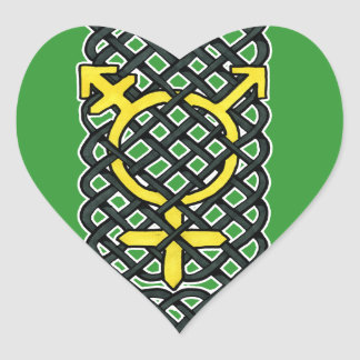 Celtic Transgender Symbol Yellow Heart Sticker
