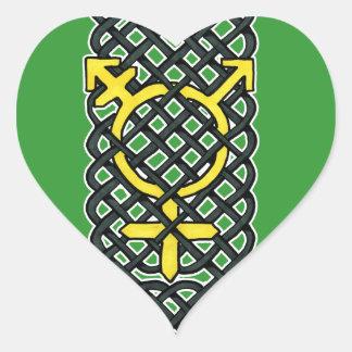 Celtic Transgender Symbol Yellow Heart Sticker