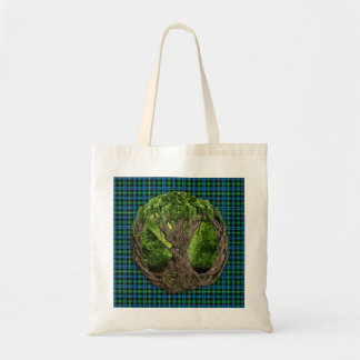 Celtic Tree Of Life And Clan Lamont Tartan Tote Bag
