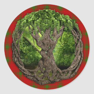 Celtic Tree Of Life And Clan MacDonald Of Sleat Classic Round Sticker