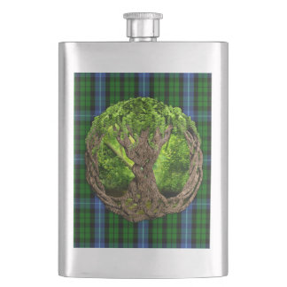 Celtic Tree Of Life And Clan MacIntyre Tartan Hip Flask