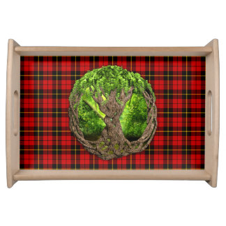 Celtic Tree Of Life Clan Wallace Tartan Serving Tray