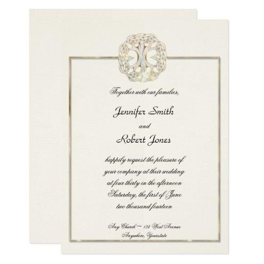Celtic Tree of Life Thistle Wedding Invitation