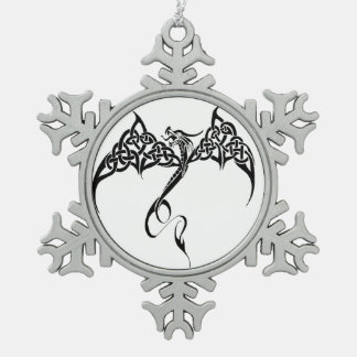 Celtic Tribal Dragon Snowflake Pewter Christmas Ornament