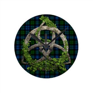 Celtic Trinity Knot And Campbell Military Tartan Clock