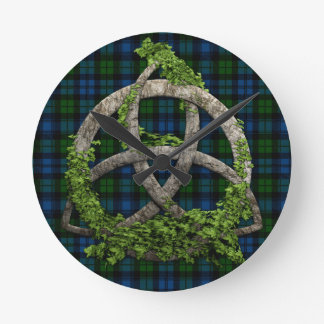 Celtic Trinity Knot And Campbell Military Tartan Round Clock