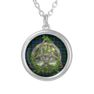 Celtic Trinity Knot And Campbell Military Tartan Silver Plated Necklace