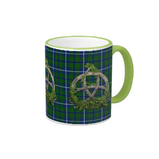Celtic Trinity Knot And Clan Douglas Tartan Mugs