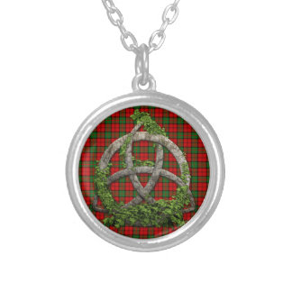 Celtic Trinity Knot And Clan Dunbar Tartan Silver Plated Necklace