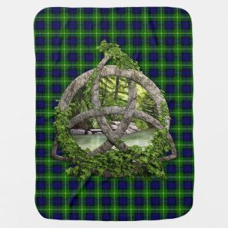 Celtic Trinity Knot And Clan Gordon Tartan Baby Blanket