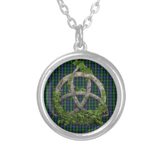 Celtic Trinity Knot And Clan MacKenzie Tartan Silver Plated Necklace