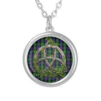 Celtic Trinity Knot And Clan Malcolm Tartan Silver Plated Necklace