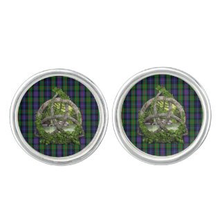 Celtic Trinity Knot And Clan Murray Tartan Cufflinks