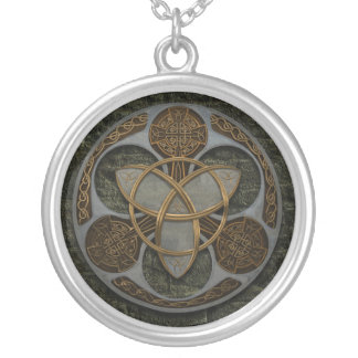 Celtic Trinity Shield Silver Plated Necklace