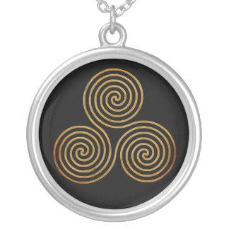 celtic triple spiral - OneLine antique gold, black Silver Plated Necklace