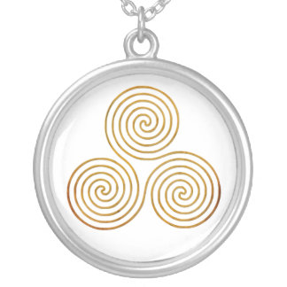 celtic triple spiral - OneLine antique gold Silver Plated Necklace