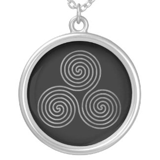 celtic triple spiral - OneLine antique silver, bla Silver Plated Necklace
