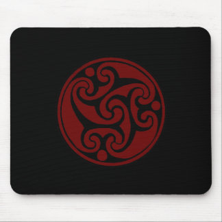 Celtic Triple Swirl Red and Black Mouse Pad