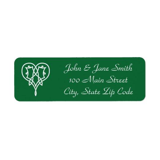 Celtic Weave Hearts in Green Return Address Label