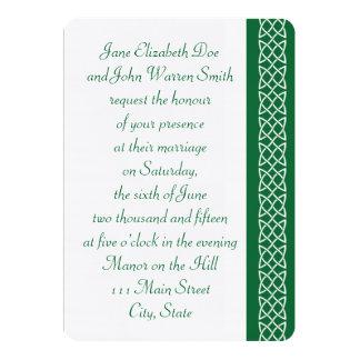 Celtic Weave Hearts in Green Wedding Invitation