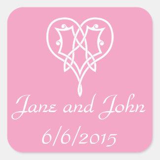 Celtic Weave Hearts in Petal Pink Sticker