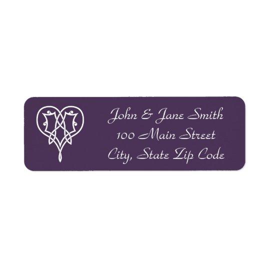 Celtic Weave Hearts in Purple Return Address Label