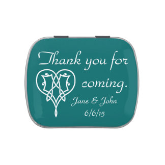Celtic Weave Hearts in Teal Candy Favor Tin Candy Tin