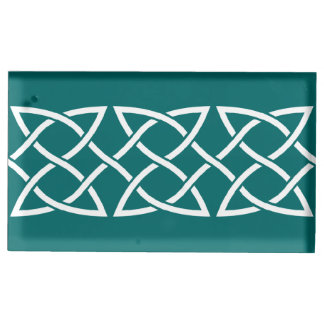 Celtic Weave Hearts in Teal Table Card Holder